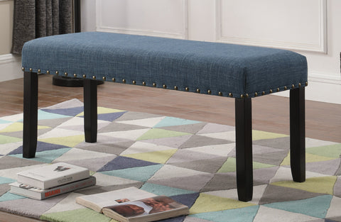 ... Biony Blue Fabric Dining Bench With Nailhead Trim ...