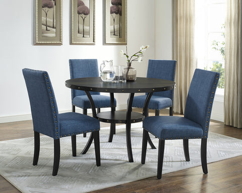 Excellent Biony Espresso Wood Dining Set With Blue Fabric Nailhead Chairs Bralicious Painted Fabric Chair Ideas Braliciousco