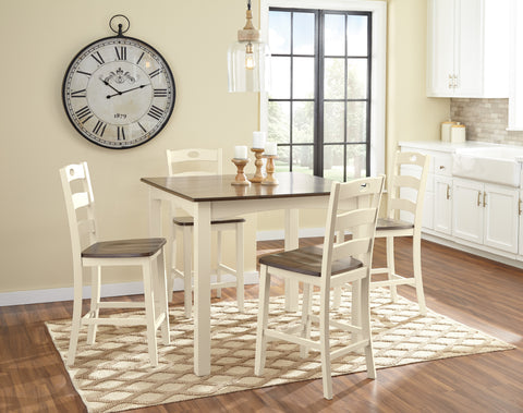 5 PC Woodville Casual Cream/Brown Color Square Counter Dining Room Set, Table And 4 Chairs