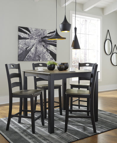 5 PC Froshberry Casual Grayish Brown/Black Color Dining Room Set, Square Counter Tbale And 4 Side Chairs