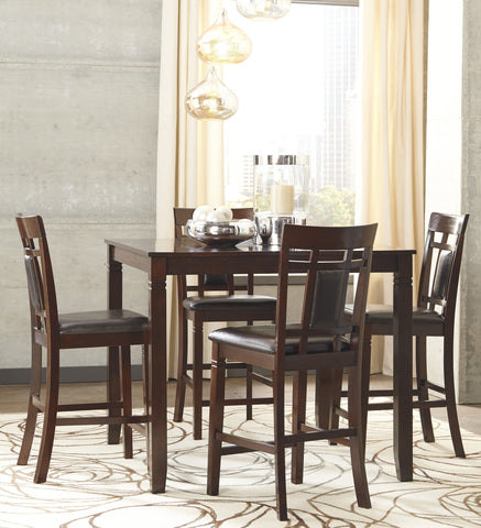 ... 5 PC Barnnox Casual Brown Color Counter Table Set, Table And 4 Chairs  ...