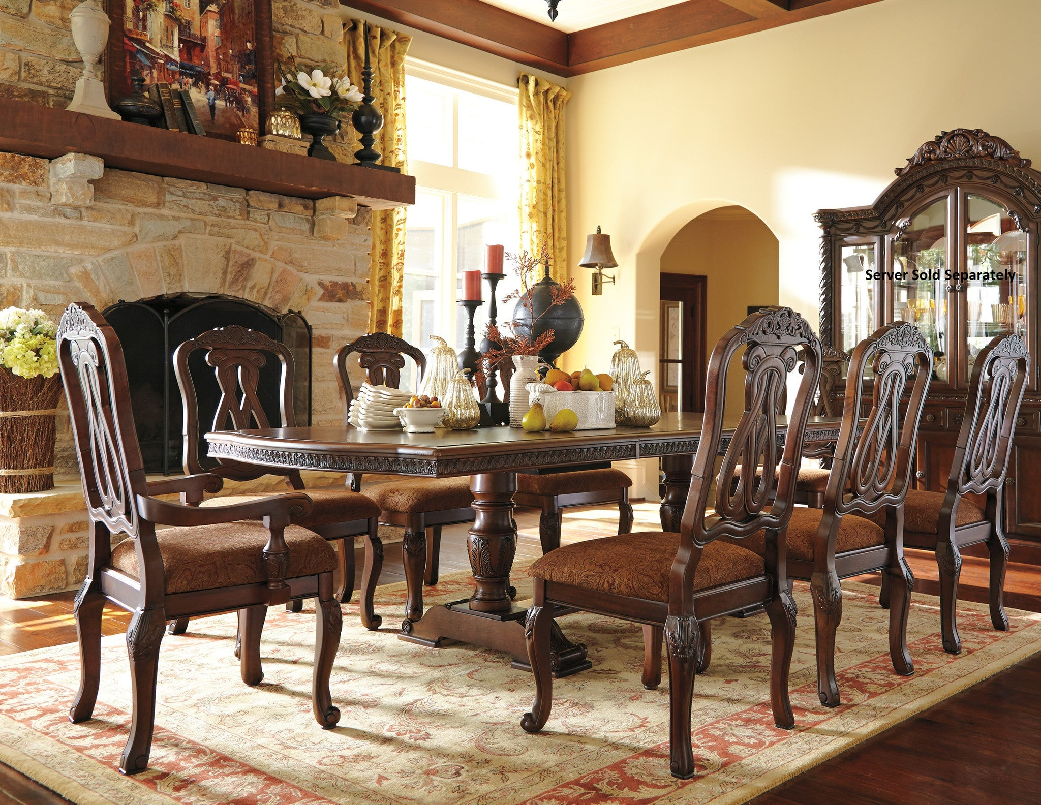 NorthShore Brown Finish Double Pedestals And Leafs Formal Dining Set- Rectangle Table- 8 Chairs