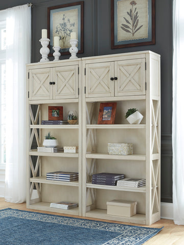 Cosenza Casual White Oak Veneer Two-tone Large Door Bookcases Set
