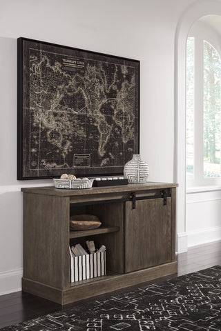 Gela Casual Wood Grayish Brown Large Credenza