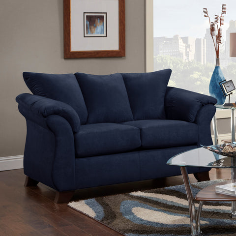 Awesome Aruca Navy Blue Microfiber Pillow Back Sofa And Loveseat Set Gmtry Best Dining Table And Chair Ideas Images Gmtryco