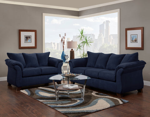 Pleasing Aruca Navy Blue Microfiber Pillow Back Sofa And Loveseat Set Download Free Architecture Designs Xerocsunscenecom