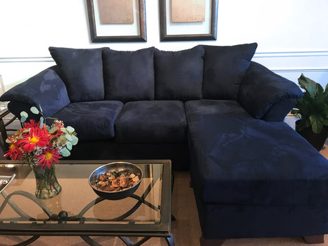 Groovy Aruca Navy Blue Microfiber Pillow Back Sofa Gmtry Best Dining Table And Chair Ideas Images Gmtryco
