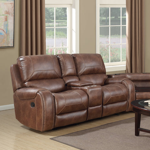 Achern Brown Leather Nailhead Air Reclining Loveseat with Storage Console