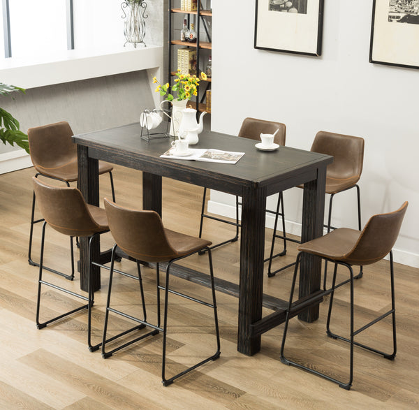 Cool Lotusville 7 Piece Bar Height Antique Black Wood Dining Table With 6 Brown Faux Leather Chairs Cjindustries Chair Design For Home Cjindustriesco
