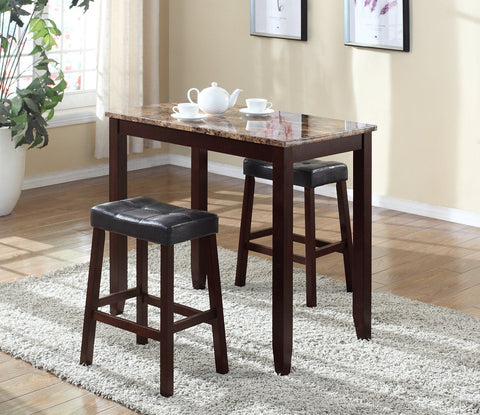 3-piece Counter Height Glossy Print Marble Breakfast Table with Stools