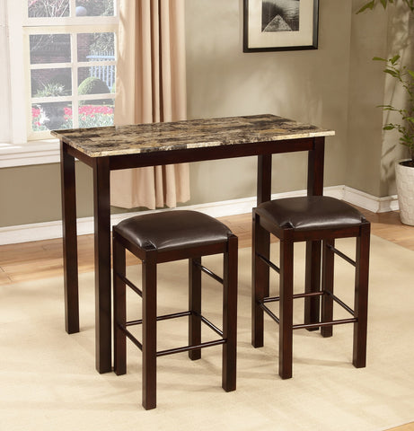 3PC Espresso Finish Counter Height Breakfast Set