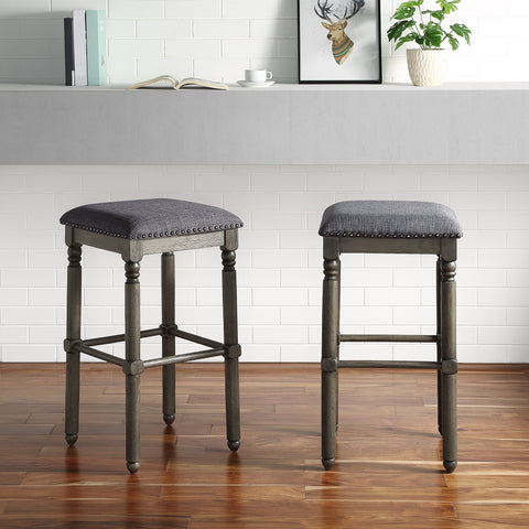Arnhem Wood Gray Upholstered Swivel Bar Stools, Set of 2