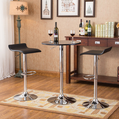 Enjoyable Baxton Black Adjustable Height Wood And Chrome Metal Bar Table And 2 Black Chrome Air Lift Adjustable Swivel Stools Set Short Links Chair Design For Home Short Linksinfo