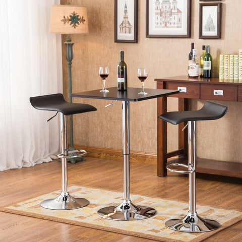 Baxton Black Square Top Adjustable Height Wood and Chrome Metal Bar Table and 2 Black Chrome Air Lift Adjustable Swivel Stools Set
