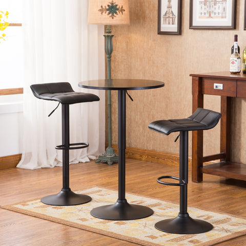 Belham Black Round Top Adjustable Height Bar Table and 2 Swivel Black Bonded Leather Adjustable Bar Stool Bar Sets