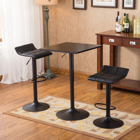 ... Belham Black Square Top Adjustable Height With Black Leg And Base Metal Bar  Table And 2 ...