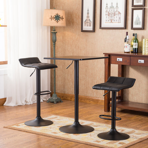 Belham Black Square Top Adjustable Height With Black Leg And Base Metal Bar  Table And 2