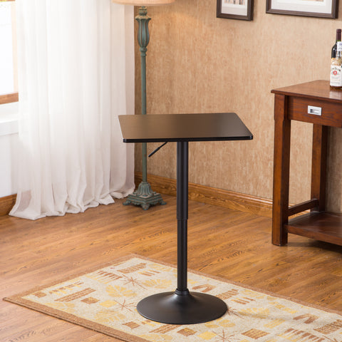 Belham Black Square Top Adjustable Height with Black Leg And Base Metal Bar Table