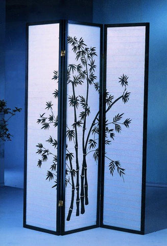 3 Panel Black Oriental Shoji Screen / Room Divider