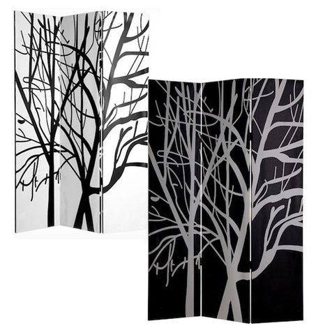 3-Panel Double Sided Canvas Room Divider Screen - Black and White Tree