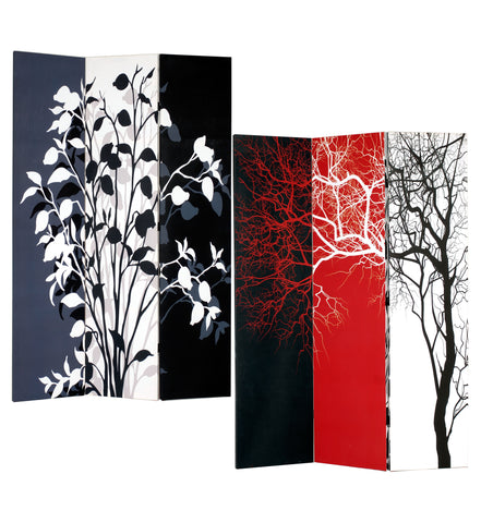 3-Panel Double Sided Canvas Room Divider Screen - Tree