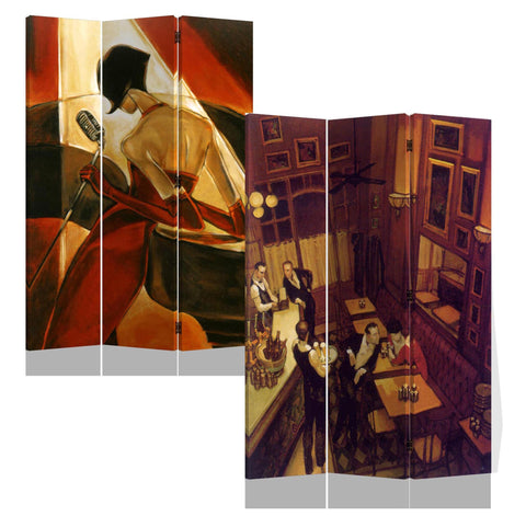 3 Panels Double Sided Canvas Painting Room Divider Screen - Night At Bar