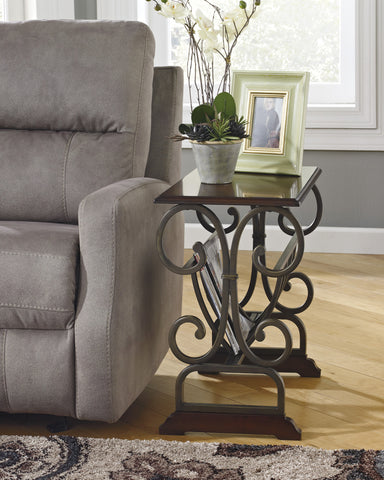Braunsen Brown Wood and Metal Chair Side End Table