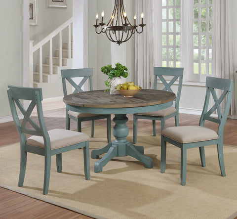 Prato 5 Piece Round Dining Table Set With Cross Back Chairs
