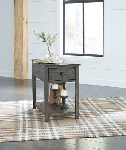 Bonfield Casual Dark Gray wood Rectangular End Table