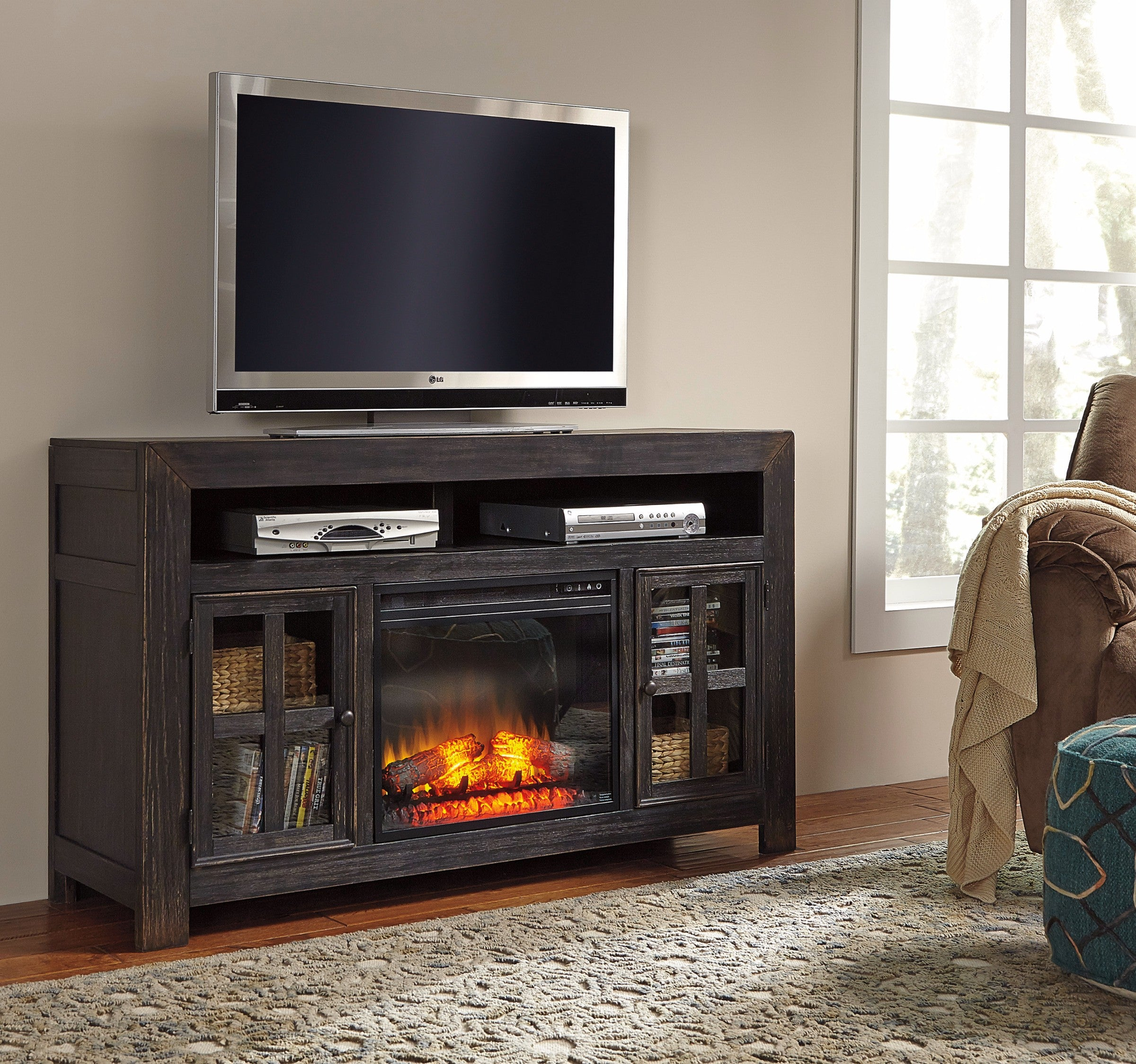 Gravolston Casual Black Wood TV Stand with Fireplace Insert