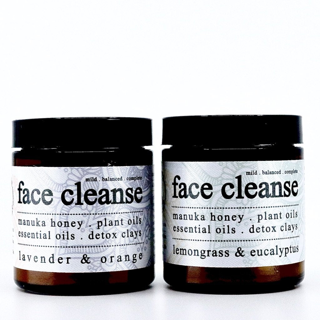 organic lavender & orange face cleanse. organic lemongrass & eucalyptus face cleanse.