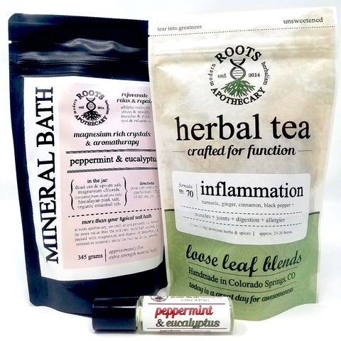 Inflammation tea, mineral bath, aroma roller