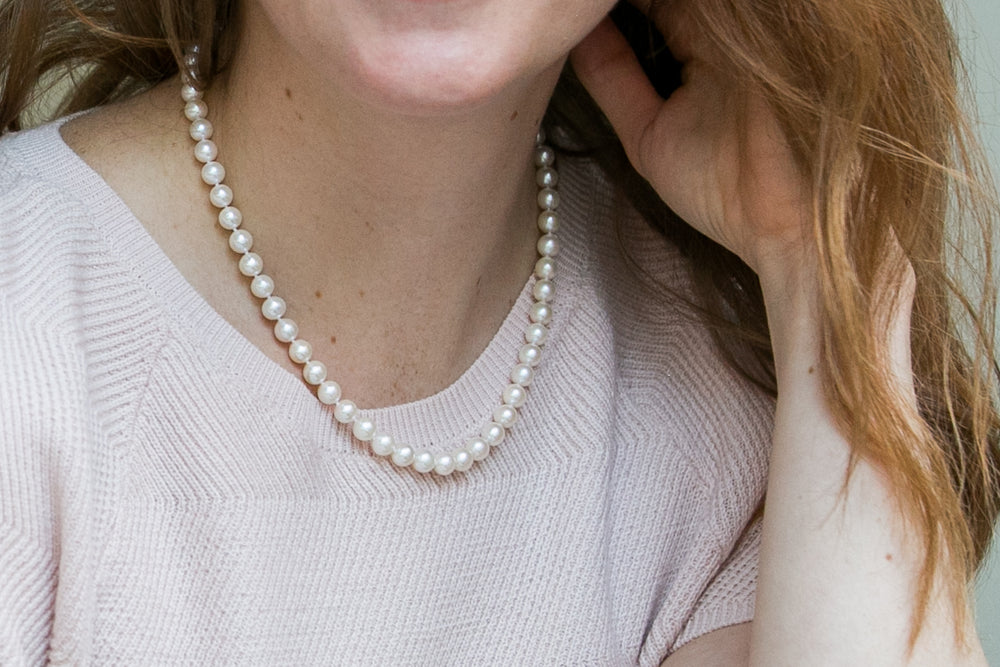 Gratia almost round white cultured freshwater pearl necklace