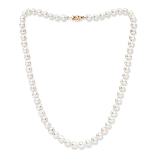 Gratia 7mm almost round cultured akoya pearl necklace on 14kt gold clasp