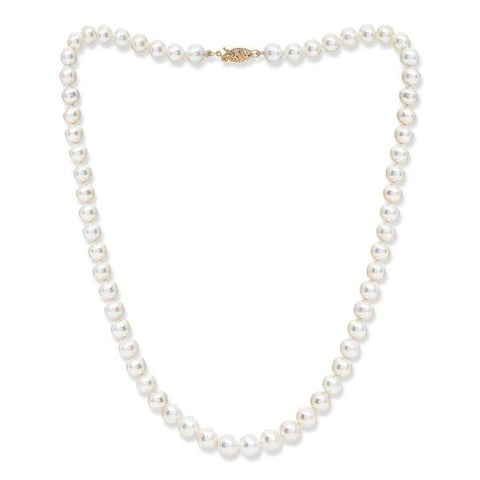 7mm almost round cultured akoya pearl necklace on 14kt gold clasp