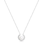 Stella Cultured Freshwater Pearl Pendant With Sparkle Surround