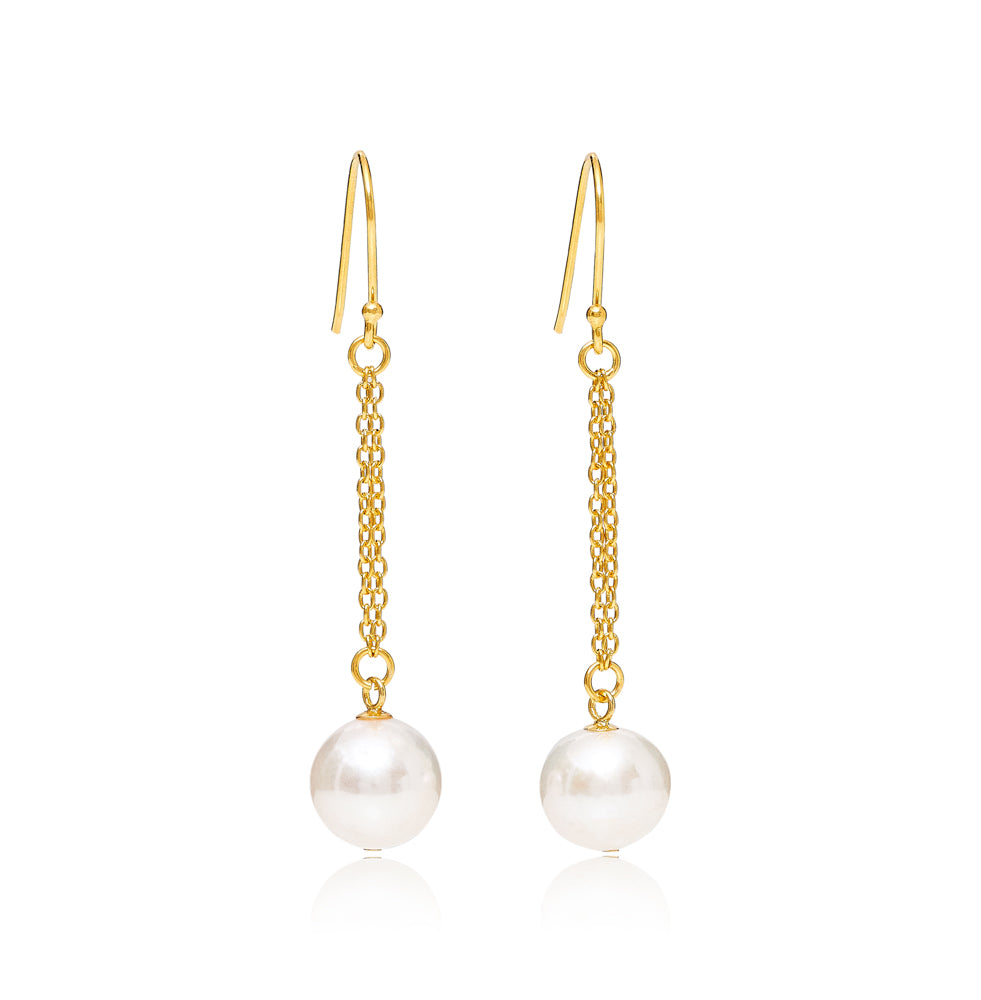 Large almost round cultured freshwater pearl drop gold chain earrings