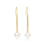 Credo almost round cultured freshwater pearl drop gold chain earrings