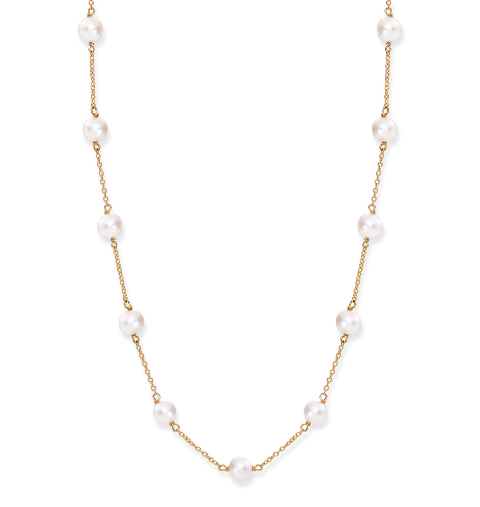 Gratia gold plated sterling silver chain necklace with cultured freshwater pearls