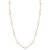 Single strand gold plated sterling silver chain necklace with cultured freshwater pearls