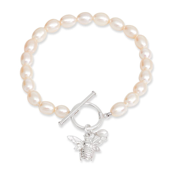 Vita cultured Freshwater Pearl Bracelet With Silver Bumble Bee