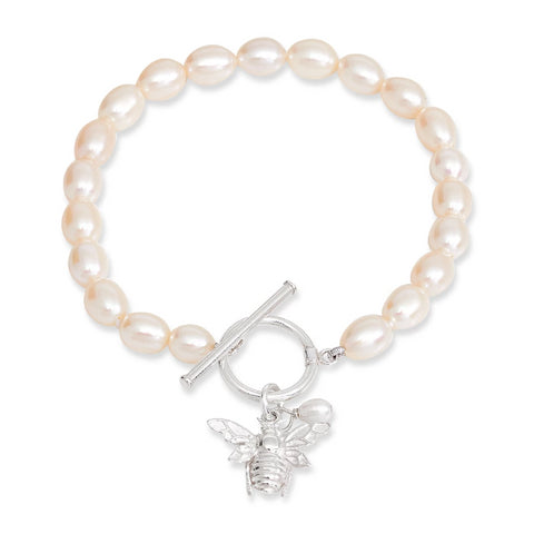 Cultured Freshwater Pearl Bracelet With Silver Bumble Bee