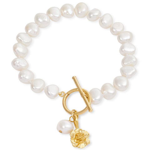 Cultured Freshwater Pearl Bracelet with Gold Cherry Blossom Charm