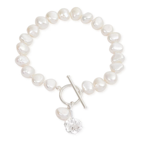 Cultured Freshwater Pearl Bracelet with Silver Cherry Blossom Charm
