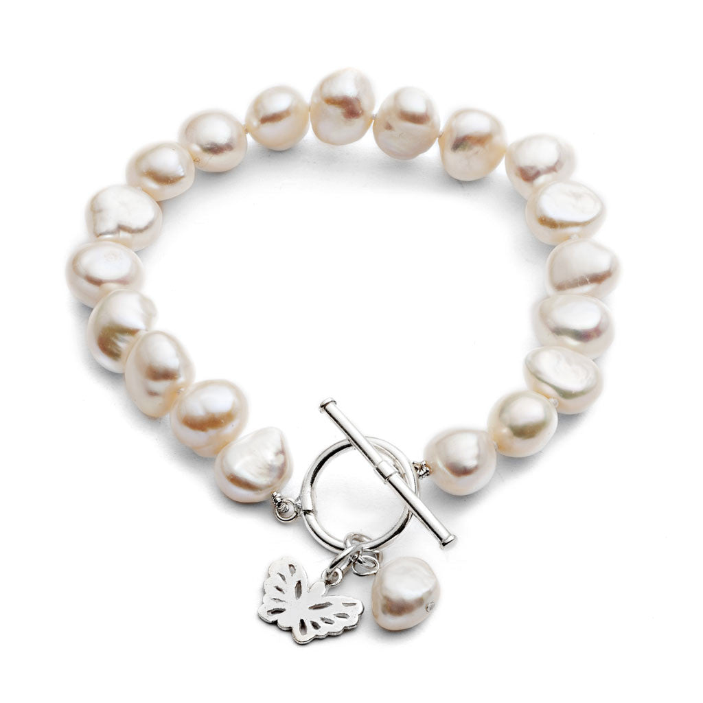 White cultured freshwater pearl bracelet with sterling silver butterfly charm