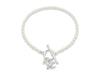 Cultured freshwater oval pearl bracelet with a silver swallow charm
