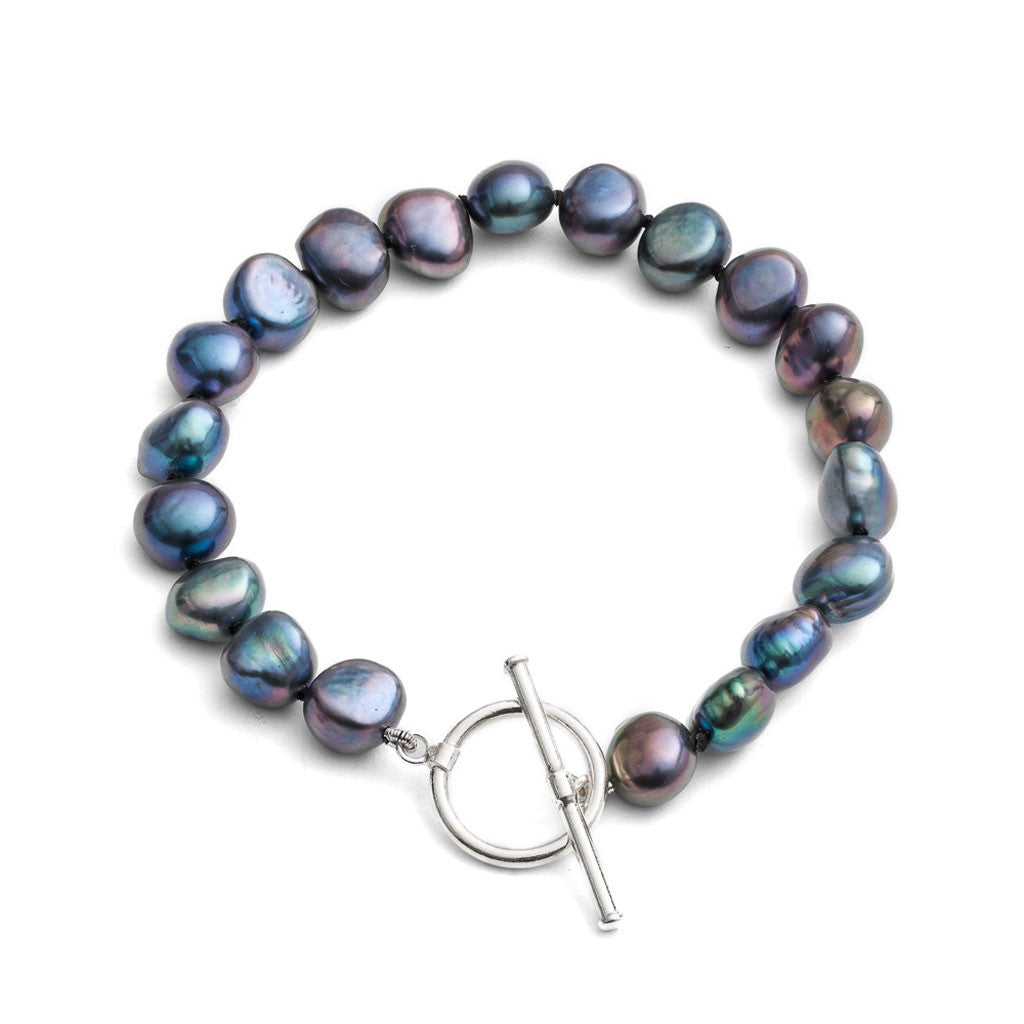 Black freshwater irregular-shaped pearl bracelet