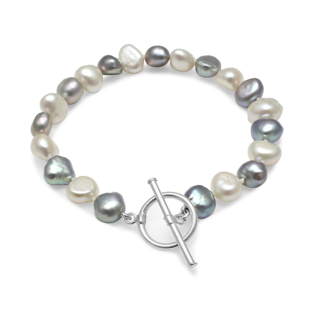 Single strand grey & white irregular-shaped cultured freshwater pearl bracelet