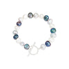 Single strand black, grey & white irregular-shaped cultured freshwater pearl bracelet