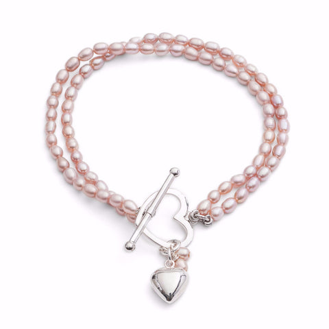 pink oval cultured freshwater pearl bracelet with silver heart charm